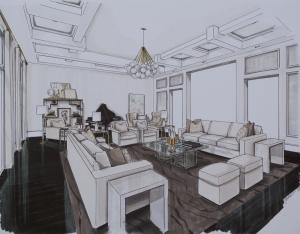 Living Room Perspective 2 - Dark Rug