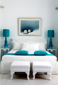 white-bed-with-blue